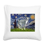 Starry Night/Italian Greyhoun Square Canvas Pillow