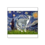 Starry Night/Italian Greyhoun Square Sticker 3