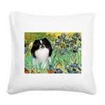 Irises/Japanese Chin Square Canvas Pillow