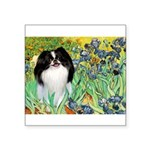 Irises/Japanese Chin Square Sticker 3