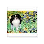 Irises/Japanese Chin Square Sticker 3