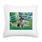Bridge / Keeshond Square Canvas Pillow