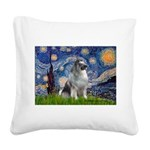 Starry / Keeshond Square Canvas Pillow
