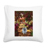 The Path - Keeshond (F) Square Canvas Pillow