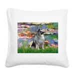 Lilies / Keeshond Square Canvas Pillow