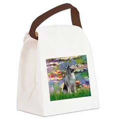 Lilies / Keeshond Canvas Lunch Bag
