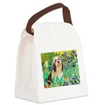 Irises / Lhasa Apso #4 Canvas Lunch Bag