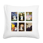 Maltese Famous Art (clr) Square Canvas Pillow