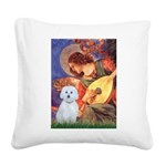 Mandolin Angel / Maltese (B) Square Canvas Pillow