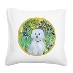 Irises / Maltaese (B) Square Canvas Pillow