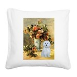 Vase / Maltese (B) Square Canvas Pillow