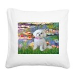 Lilies (2) & Maltese Square Canvas Pillow