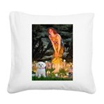Fairies & Maltese Square Canvas Pillow
