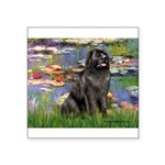 Lilies2-Newfie2 Square Sticker 3