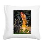 Fairies & Newfoundland Square Canvas Pillow