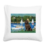 Sailboats & Newfoundland Square Canvas Pillow