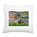 Lilies / Nor Elkhound Square Canvas Pillow