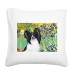 Irises & Papillon Square Canvas Pillow
