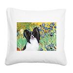 Irises & Papillon Square Canvas Pillow