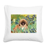 Irises / Pekingese(r&w) Square Canvas Pillow