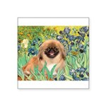 Irises / Pekingese(r&w) Square Sticker 3