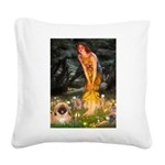 Fairies / Pekingese(r&w) Square Canvas Pillow