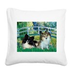 Bridge / 2 Pomeranians Square Canvas Pillow