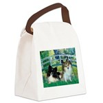 Bridge / 2 Pomeranians Canvas Lunch Bag