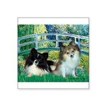 Bridge / 2 Pomeranians Square Sticker 3