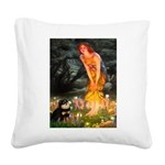 Fairies / Pomeranian (b&t) Square Canvas Pillow
