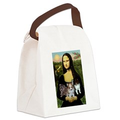 Mona Lisa/Pomeranians Canvas Lunch Bag