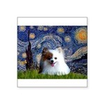 Starry/Pomeranian(r&w) Square Sticker 3
