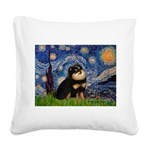 Starry Night / Pomeranian(b&t) Square Canvas Pillo