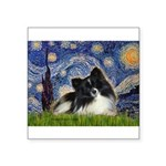 Starry Night / Pomeranian (b&w) Square Sticker 3