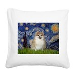 Starry / Pomeranian Square Canvas Pillow