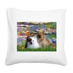 Lilies / 2 Pomeranians Square Canvas Pillow