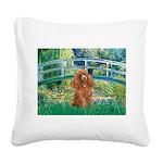 Lily Pond Bridge/Poodle (apri Square Canvas Pillow