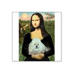Mona Lisa/Poodle (white/toy) Square Sticker 3