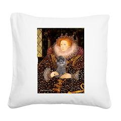 Elizabeth / Poodle (Silver) Square Canvas Pillow