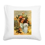 Vase / Poodle (White) Square Canvas Pillow