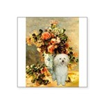Vase / Poodle (White) Square Sticker 3
