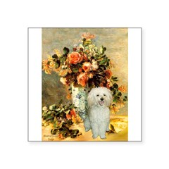 "Vase / Poodle (White) Square Sticker 3"" x 3"""
