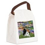 Lilies / 3 Poodles Canvas Lunch Bag