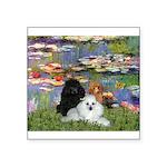 Lilies / 3 Poodles Square Sticker 3
