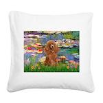 Lilies / Poodle (Apricot) Square Canvas Pillow