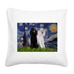 Starry Night / 2 Poodles(b&w) Square Canvas Pillow