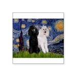 Starry Night / 2 Poodles(b&w) Square Sticker 3