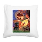Mandolin Angel / Black Pug Square Canvas Pillow