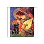 Mandolin Angel / Black Pug Square Sticker 3