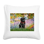 Garden / Black Pug Square Canvas Pillow
